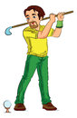 Man Playing Golf, illustration Royalty Free Stock Photo