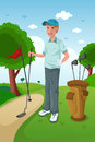 Man playing golf a vector illustration of healthy on a green Royalty Free Stock Image