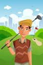Man playing golf a vector illustration of healthy holding club Stock Image