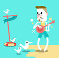 Man playing guitar on the beach with seagulls summer and vacation concept design vector eps Stock Images