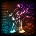 Man playing guitar easy to edit vector illustration of on musical background Stock Photography