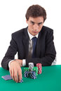Man playing poker Royalty Free Stock Images