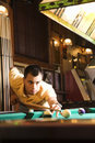 Man playing pool. Royalty Free Stock Photo