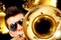 Man playing the saxophone Royalty Free Stock Photo
