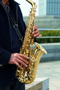 Man playing saxphone a chinese is saxophone at a park in beijing Stock Images