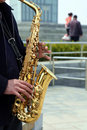 Man playing saxphone a chinese is saxophone at a park in beijing Stock Photography