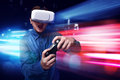 Man playing video games wearing vr goggles Royalty Free Stock Photo