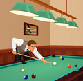 Man plays game of billiards