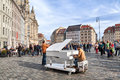 Man plays on a grand piano on Neumarkt square in Dresden Royalty Free Stock Photo