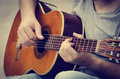 Man plays the guitar Royalty Free Stock Photo