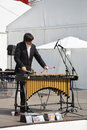 Man plays xylophone at festival white nights perm june on june in perm russia cost of june amounted to more Stock Photos