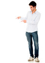 Man pointing with both hands Royalty Free Stock Photo