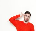 Man pointing finger gun gesture to head Royalty Free Stock Photo