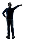 Man pointing finger silhouette full length Royalty Free Stock Photo