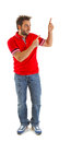 Man pointing with red t shirt on white background Royalty Free Stock Images