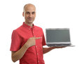 Man pointing on screen of laptop happy young isolated white background Stock Images