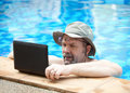 Man in pool. Stock Photo