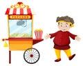 Man and popcorn vendor