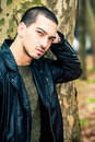 Man portrait outdoors. Handsome natural male Royalty Free Stock Photo
