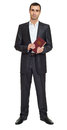 Man portrait in suit with book on white at studio Royalty Free Stock Photo