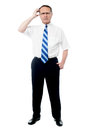 Man posing against a white background frustrated senior businessman holding his head Royalty Free Stock Photography