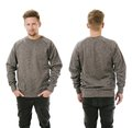 Man posing with blank grey sweatshirt photo of a wearing front and back ready for your design or artwork Royalty Free Stock Photography