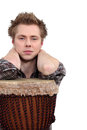 Man posing with his djembe Royalty Free Stock Images