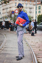 Man posing outside gucci fashion shows building for milan women s fashion week italy september poses on september in Stock Photo