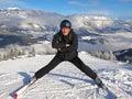 Man posing on ski slope