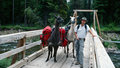 Man Posing with Two Llamas on Wilderness Drawbridge Royalty Free Stock Photo
