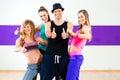 Man posing with woman in dance school women zumba Stock Image