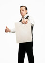 Man with poster in a vest the empty tablet Stock Photography