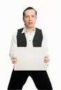 Man with poster in a vest the empty tablet Stock Images