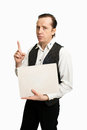 Man with poster in a vest the empty tablet Royalty Free Stock Photo