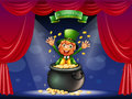 A man in a pot at the center of the stage illustration Royalty Free Stock Photos