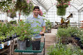 Man with potted plants on cart Stock Photography