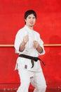 Man practicing karate Royalty Free Stock Photo