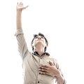 Man praise worship and in bright Stock Image