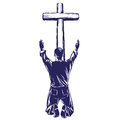 Man praises God for the forgiveness of his sins, crucified on the cross symbol of Christianity hand drawn vector