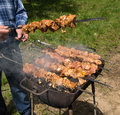 Man preparing barbecue tasty outdoors Royalty Free Stock Photo