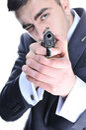Man  preparing to shoot. Royalty Free Stock Photo