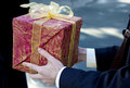 Man present red gift box Royalty Free Stock Photo