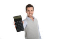 Man presenting numbers on calculator cheerful guy showing good figures Stock Photography