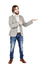 Man presenting or showing something your text or product human bearded emotion expression and lifestyle concept image on a white Stock Images