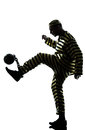 Man prisoner criminal playing soccer ball Royalty Free Stock Photography