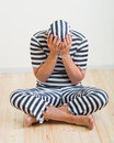 Man prisoner portrait of a repentant in prison garb Royalty Free Stock Photos