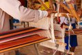 Man produces the fabric a on a traditional loom in bedouin village egypt Stock Photography