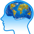 Man profile with visible brain world map human and planisphere concept illustration Royalty Free Stock Photos
