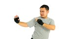 Man protect in body combat Royalty Free Stock Image