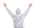 Man in protective clothes showing stop gesture Royalty Free Stock Photo